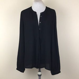 Banana Republic Black Button Down Shirt Blouse